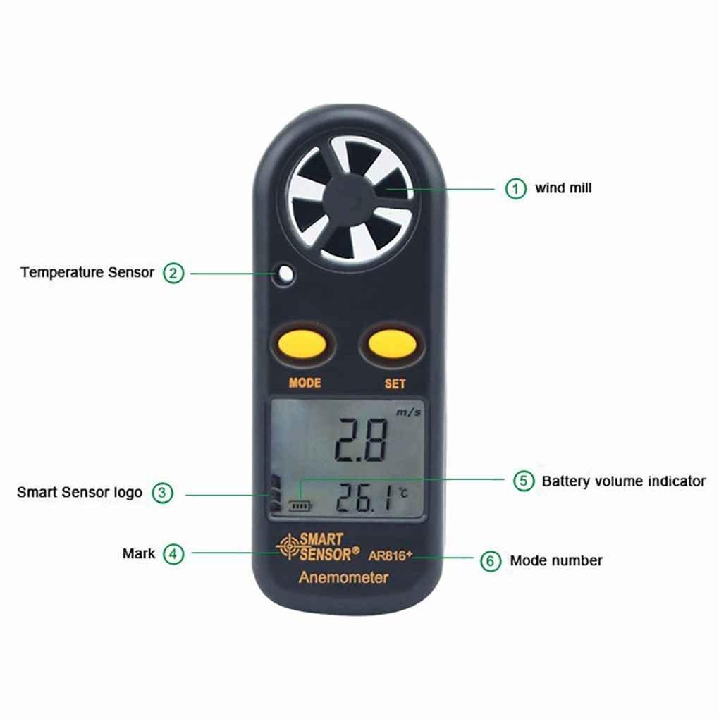 SENSOR ELEGANTE AR816 + Anemómetro Electrónico Termómetro digital de bolsillo velocidad del viento Medidor de flujo de aire del medidor medidor de viento ...