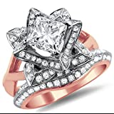 Smjewels 1.60Ct Princess Cut CZ Diamond Lotus Flower Engagement Ring Band Set In Rose Gold Fn