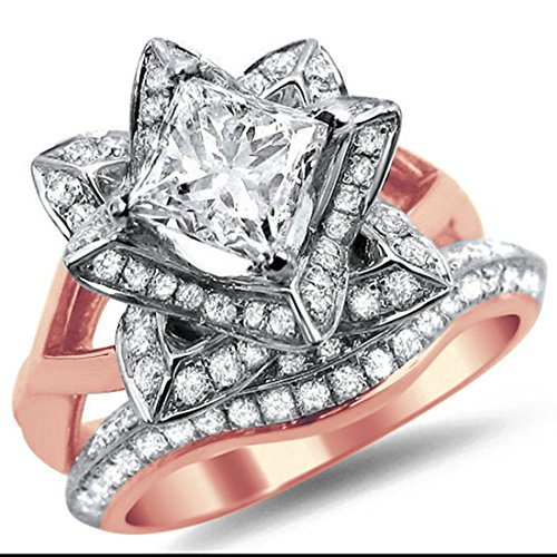 Smjewels 1.60Ct Princess Cut CZ Diamond Lotus Flower Engagement Ring Band Set In Rose Gold Fn by Smjewels (Image #1)