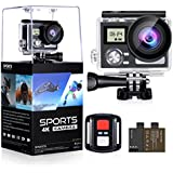 OGL WIFI Action Camera 4K 24MP Waterproof Ultra HD Remote EIS Sports Camera 100Ft Underwater 2 LCD 170° Wide Angle with 2 Rechargeable Batteries Mounting Accessories Kits (Upgraded 24MP 128GB)