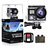 WiFi Action Camera 4K 24MP Waterproof Ultra HD Remote EIS Sports Camera 100Ft Underwater OGL 2' LCD 170° Wide Angle with 2 Rechargeable Batteries Mounting Accessories Kits (Upgraded 24MP 128GB)