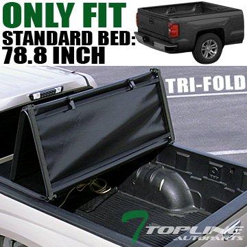"Topline Autopart Tri Fold Soft Vinyl Truck Bed Tonneau Cover For 07-13 Chevy Silverado ; GMC Sierra 1500 ; 07-14 2500 HD / 3500 HD/Denali 6.5 Feet (78"") Bed"