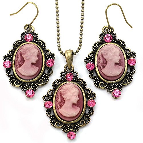Cameo Set Earrings (Pink Cameo Fashion Jewelry Set Necklace Pendant Dangle Drop Earrings)