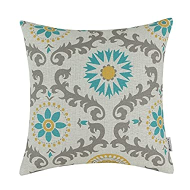 CaliTime Throw Pillow Cover Three-tone Dahlia Floral Compass Geometric 18 X 18 Inches