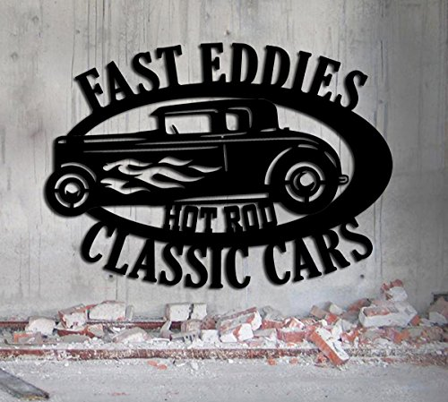 Hot Rod Garage - LARGE Personalized Sign - Metal Wall Art- Customize It - Metal Wall Art Man
