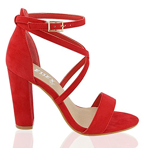 rappy Block Heel Red Faux Suede Ankle Strap Sandals 5 B(M) US (Faux Suede Sandals)