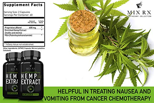 (2 Pack) Hemp Oil Extract Powder Capsules for Pain Relief Anxiety Sleep (3000mg / 240 Pills) Best Natural Organic Hemp Seed Oil - Anti Inflammatory, Joint Support - 100% Pure Hemp Oils Supplements by Mix Rx (Image #7)