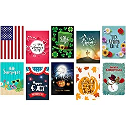 "Seasonal Garden Flag Set of 10, Double-sided, Polyester, Great Design Assortment Yard Flag to Bright Up Your Days of All Seasons 12"" x 18"" + BONUS Rubber Stopper and Anti-wind Clip"