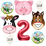 Red Number 2nd Birthday Farm Animals Party Decorations Balloon Bouquet Bundle
