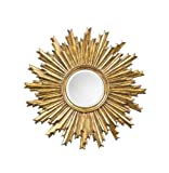 Wall Mirror Decor Sunburst Design in Antique Gold Finish