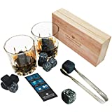 Sea Stone -Whiskey Stones Gift Set Natural Basalt and Granite Polish Chilling Rocks with Handmade Wooden Box,Forceps and Velvet Carrying Pouch - Pack of 10 Premium Whiskey Rocks