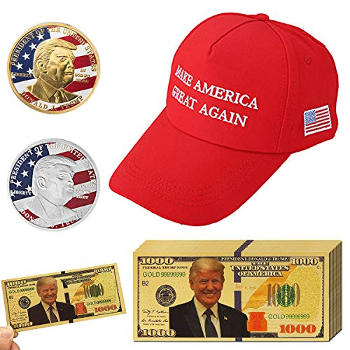 JETTINGBUY 13Pack 2018 USA President Donald Trump, 10Pcs Gold Foil 1000 Dollar Bill Banknote + 1Pc Trump Sport Hat + 2Pcs Official Authentic 24k Gold-Plated Donald Trump Commemorative Coins in GOL