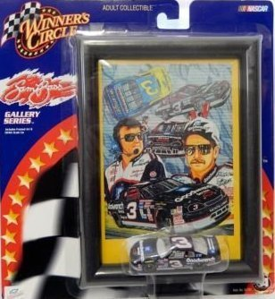 2001 Sam Bass Gallery Edition 1/64 Scale Dale Earnhardt Sr #3 Goodwrench GM Service Monte Carlo 1/64 Scale Diecast With Sam Bass Gallery Mini Print Collage Childress Wrangler Car & Late Model Monte Carlo 6-1/2