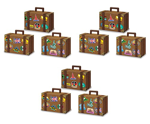 Beistle 54792 Luggage Favor Boxes, Multi-colored - Luggage Favor Box