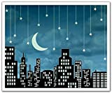 JP London Peel and Stick Removable Wall Decal Sticker Mural, Sinatra Mad Men Twilight Fly Me to The Moon Skyline, 24 by 19.75-Inch