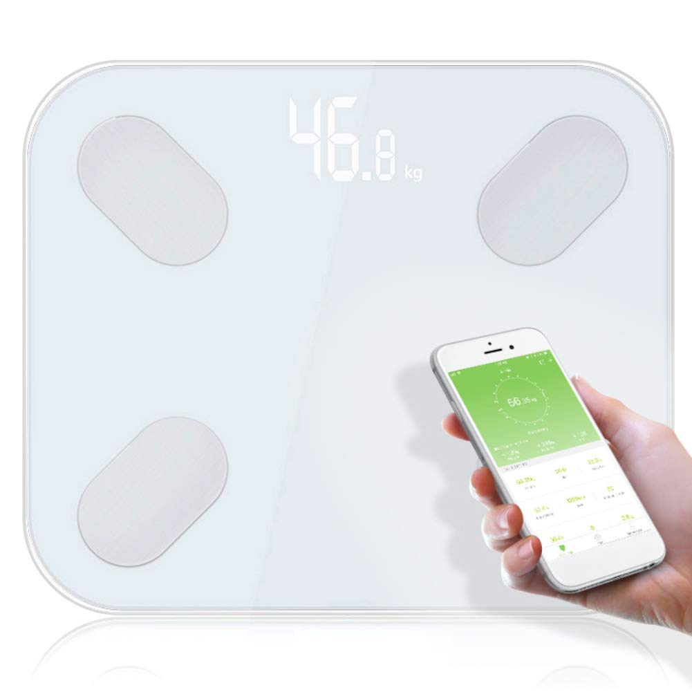 Zconmotarich Bluetooth Body Fat Scale, Smart Electronic LED Digital Display, Weight Bathroom Balance White