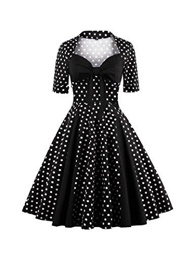De 1940 Vintage lunares Patchwork de las mujeres Swing Vestido de fiesta