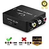 Cingk 1080P 3RCA AV CVBS Composite to HDMI Converter AV to HDMI Adapter for PC Laptop Xbox PS4 PS3 TV STB VHS VCR Camera DVD