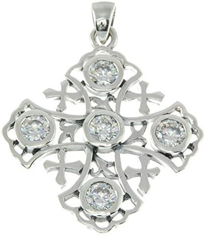 Pendientes de cruz de Jerusalén de plata de ley 925lámpara de techo colgante con blanco piedras preciosas