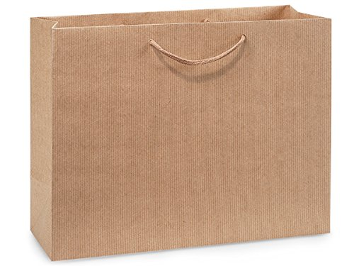 Pack Of 100, Vogue 16 X 6 X 12'' Brown Kraft Pinstripe Paper Gift Bags W/Varnish Stripe & Cotton Cord Handles by Generic