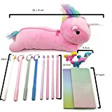 Unicorn Kawaii School Supplies: 1 pc Plush Unicorn Pencil Case, 4 pcs Unicorn Pens, 4 pcs Pink & Purple Pencils, 3 pieces Animal Unicorn Erasers & 2 pcs Rainbow Sticky Notes Office Supplies