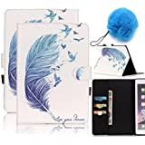 Galaxy Tab E 9.6 Case Slim Fit,Vandot 2in1 Set Luxury PU Leather Smart Case Cover Colorful Painting Magnetic Flip Folio Stand Wallet Case for Samsung Galaxy Tab E 9.6 SM-T560 T561 with Auto Sleep/Wake Feature-Blue Feather