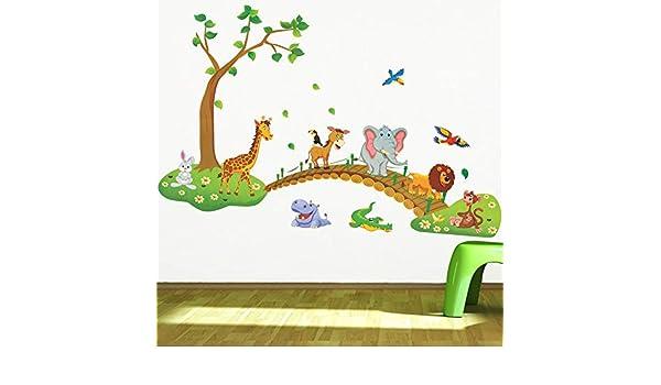 Amazon.com: CHITOP 3D Cartoon Jungle Wild Animal Tree Bridge - Lion Giraffe Elephant Birds Flowers Wall Stickers for Kids Room - Living Room Home Decor: ...