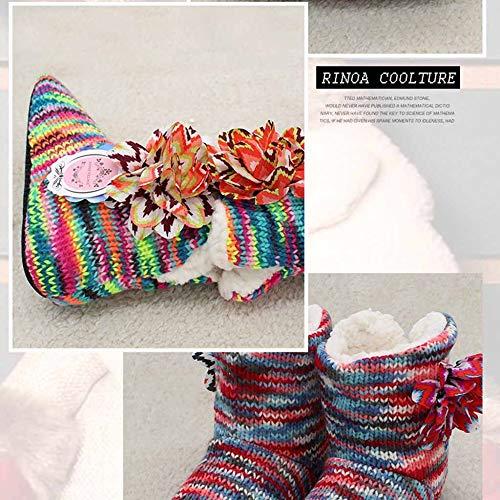 Molles Intérieure Pantoufles Les Coton Épaisses À Pas Ne D'hiver Glissent Chaude Cuir En La Maison Red De OAAqHdwgxY