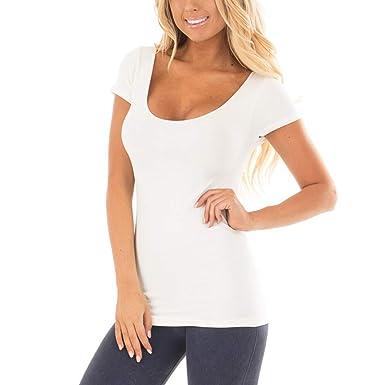 Camisa de Manga Corta Casual Pura para Mujer Camisa básica Color sólido para el hogar Chaleco
