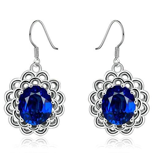 AmDxD Jewelry Gold Plated Women's White Gold Earrings Sun Flower Oval Blue ()