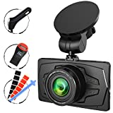 """Ampulla Pluto dash cam 2K Super HD 1296P 170° Wide Angle 3"""" LCD Car Dashboard Camera with Parking Mode, Super Night Vision, Motion Detection, G-Sensor, Loop Recording, HDR"""