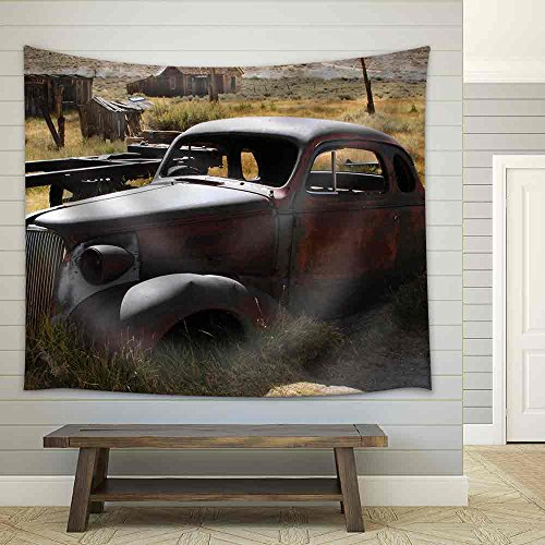 1937 Chevy Without Wheels Abandoned in the Desert Fabric Wall Tapestry