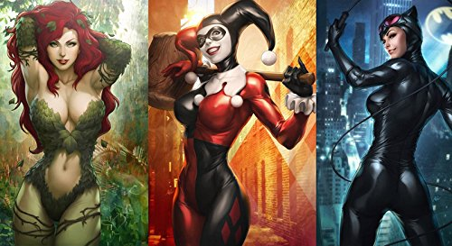 Harley Quinn Catwoman Poison Ivy Comics Hot Girl 20x35 Poster]()