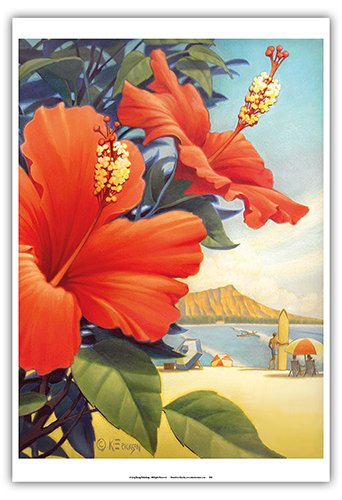 Hibiscus Beach Day - Waikiki Beach - Red Hibiscus - Vintage Style Hawaiian Travel Poster by Kerne Erickson - Master Art Print - 13 x - Hawaiian Art Beach Vintage
