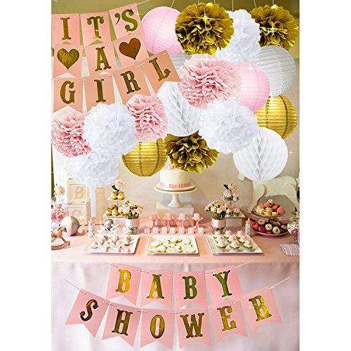 Baby Shower Decorations for Girl - IT´S A Girl & Baby Shower Banner, Garland Tassel Banners Tissue Paper Flower Pom Poms Paper Honeycomb Balls Paper Lanterns - Pink and Gold Baby Shower Decorations