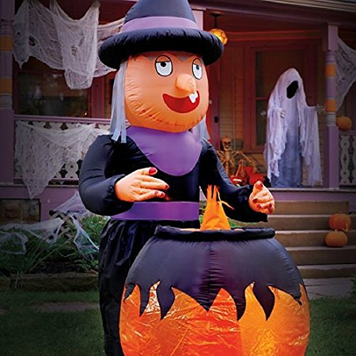 [8' Airblown Inflatable Witch W/ Cauldron Animated Halloween Decoration] (Animated Witch)