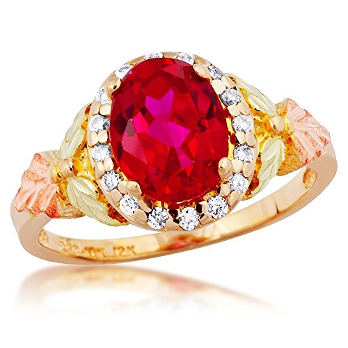 (Diamond with Created Oval Ruby Ring, 10k Yellow Gold, 12k Green and Rose Gold Black Hills Gold Motif, Size)