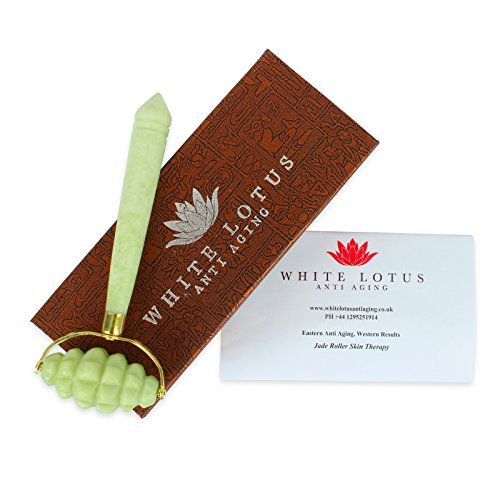 White Lotus Intensive Massage Jade Roller. The Jade Massager Jade Facial Roller Is Designed To Create Powerful Stimulation To Improve Blood Flow To The Skin And Enhance Health And -