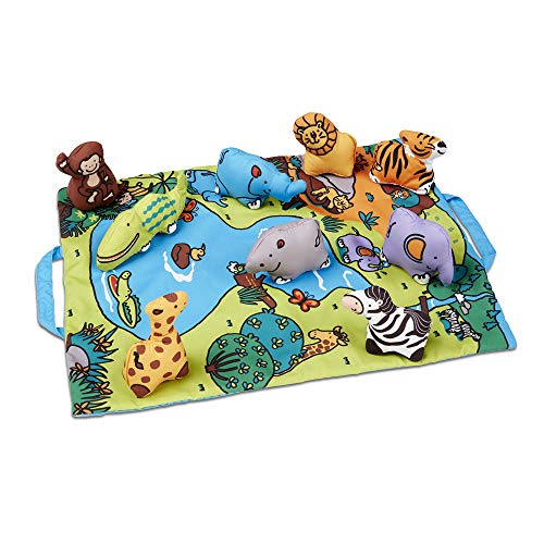 Along Folding Wild Safari Play Mat (19.25 x 14.5 inches) With 9 Animals ()