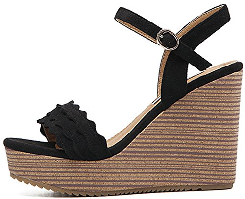 Aisun Damen Plateau Fashionable Offen Zehe Keilabsatz Sandalen Mit Schnalle Schwarz