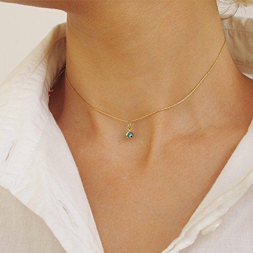 Evil Eye Necklace Pendant For Women   Gold Choker Necklace   Minimalist Pendant   14K Gold Filled Jewelry   Kabbalah Pendant   Nazar Eye Necklace   Evil Eye Protection Amulet