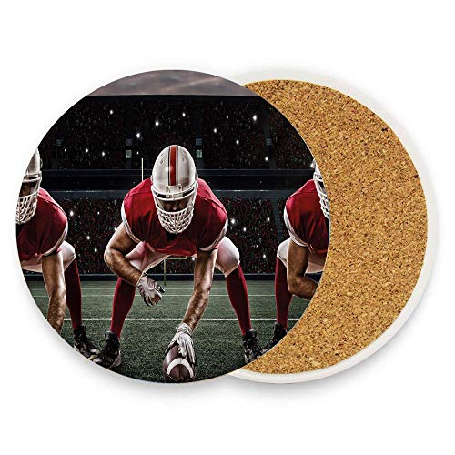 (Sports Team Players on Scrimmage Line Stadium Arena Tackle Touchdown Ceramic Coaster Glass Cup Holder Coffee Mug Place Mat for Drinks Pack Of 1)