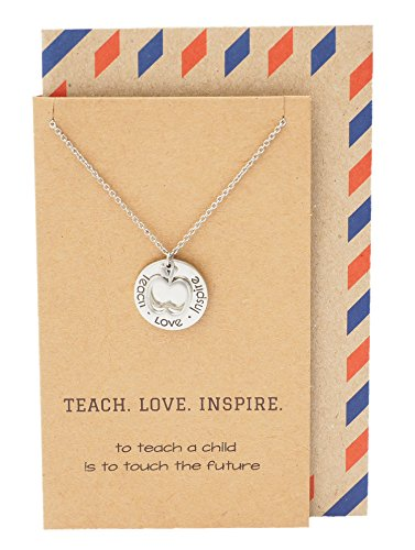 Quan Jewelry Teacher Necklace, Apple Jewelry, Teacher Gifts, Motivational Appreciation Charm, Necklace for Women, Teach Love Inspire Collection : Silver (Teacher Birthday)