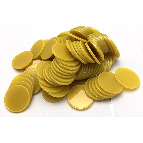100 25MM/1 Inch Opaque Plastic Learning Counting Counters Poker Chips (Golden) (Plastic Casino Chips)