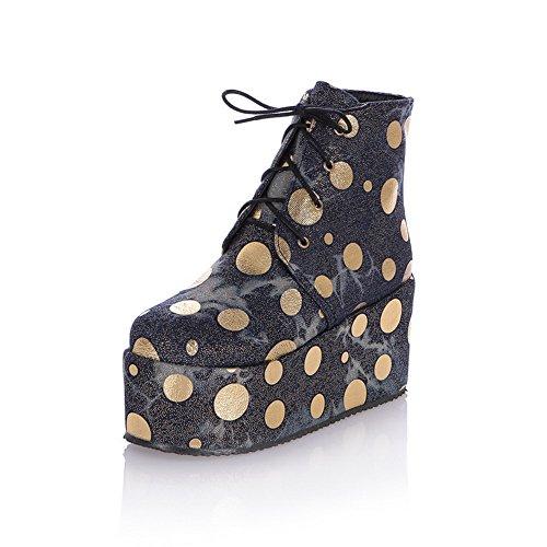 AdeeSu Ladies Polka-Dots Wheeled Heel Shoes Round Toe Short Plush Boots Gold 3mAz2l