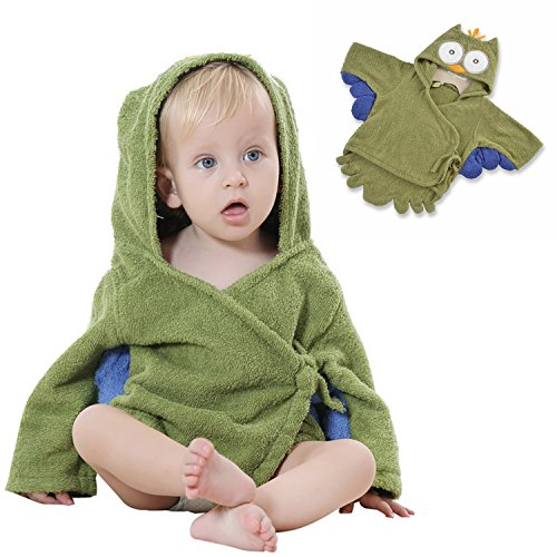 Baby Bathrobe Hooded Towel, Unisex Baby Shower Robe with Cartoon Animal Design Soft Absorbent Skin-Friendly Cotton Great Gift Present for Mom Toddlers Girls Boy (02 Green Owl) - Pebbles Halloween Costumes Baby