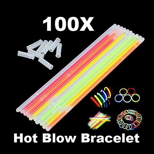 100x Random Mixed Color Fluorescence Bright Glow Stick Pack Bracelet Wristband A