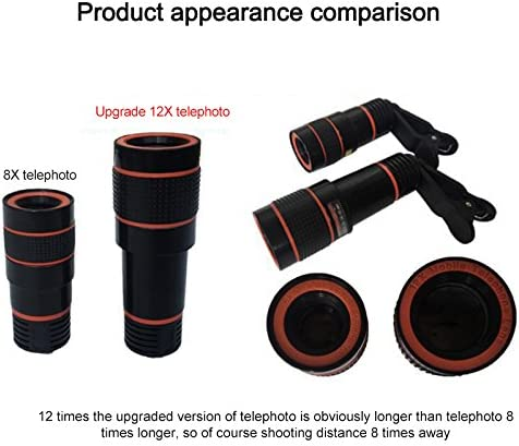Bainuojia Mobile Phone Lens 12X Telecamera Mobile Smartphone Zoom Lens for iPhone X 8 7 6 Plus 6S Samsung Galaxy S9 S8 S7 Huawei and Most Android Smartphones