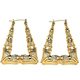 Gold Tone Hollow Casting Triangular Bamboo Hoop Earrings, 2.5 Inches