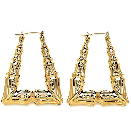 Belle Pink Gold Tone Hollow Casting Triangular Bamboo Hoop Earrings, 2 ()